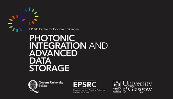 2 coloured circles with 'Photonic Integration and advanced data storage' in large with text with the QUB, EPSRC and University of Glasgow Logos along the bottom